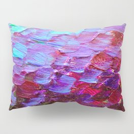 MERMAID SCALES - Colorful Ombre Abstract Acrylic Impasto Painting Violet Purple Plum Ocean Waves Art Pillow Sham
