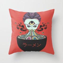 Rainbow Ramen Noodles Anime Monster Girl Throw Pillow