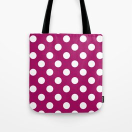 Jazzberry jam - violet - White Polka Dots - Pois Pattern Tote Bag