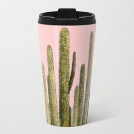 Cactus on Pink and Grey Marble Wall Travel Mug