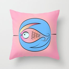 Fish in water stylized logo Throw Pillow