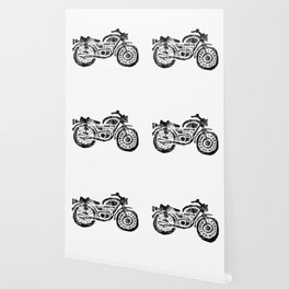 Motorcycle Linocut Block Print Wallpaper