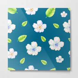 The pattern of apple flowers. Delicate apple or cherry flowers on an azure background. Metal Print