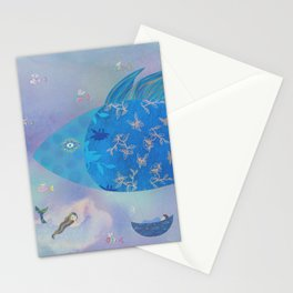 Dreamy Flying Fish Hot Air Balloon  Stationery Cards