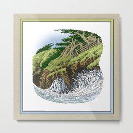 CYPRESS TREES AND BIG WAVE OF NORTHERN CALIFORNIA COAST Metal Print