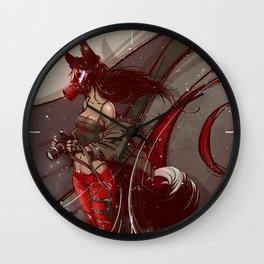 Fox in a gas mask Wall Clock
