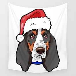 Basset Hound Dog Christmas Hat Wall Tapestry