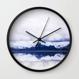 Mid Century Modern Round Circle Photo Graphic Design Navy Blue Arctic Mountains Wall Clock