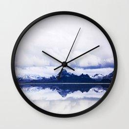 Mid Century Modern Round Circle Photo Graphic Design Navy Blue Arctic Mountains Wall Clock