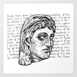 Greek Bust & Calligraphy Art Print