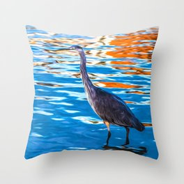 Crane on the River Shannon Throw Pillow