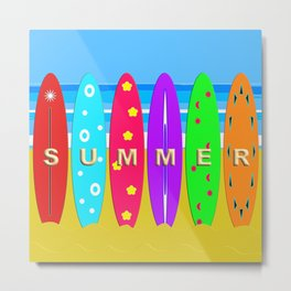 Summer in text on surfboards Metal Print