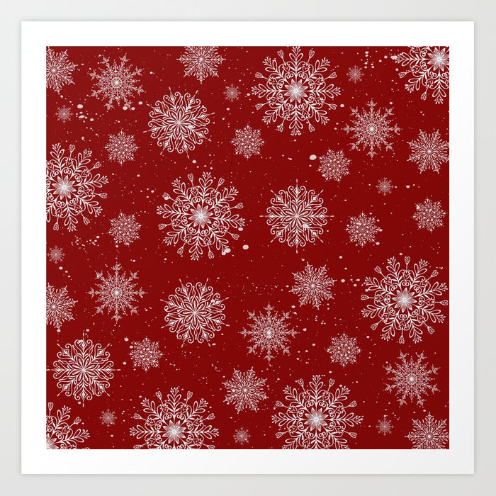 Assorted White Snowflakes On Red Background Art Print