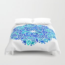 Mandala Iridescent Blue Green Duvet Cover