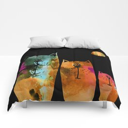 Cat Family at Night Comforters