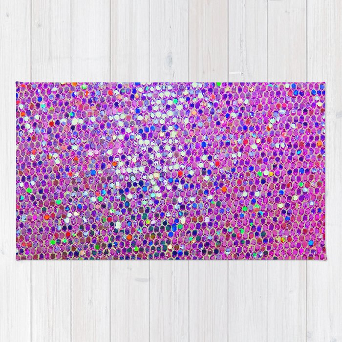 Pink Color Glitter Rug By Berber