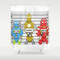 robots Shower Curtains featuring Robots by charlie usher