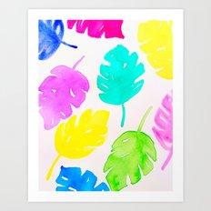 Colorful Monstera Watercolor Leaves Art Print
