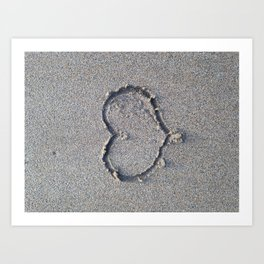 You, me and the sea. Love heart in the sand. Art Print