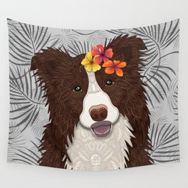 Tropical Brown Border Collie Girl Wall Tapestry