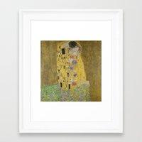 gustav klimt Framed Art Prints featuring The Kiss - Gustav Klimt by Elegant Chaos Gallery
