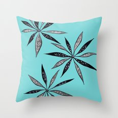 Elegant Thin Flowers With Dots And Swirls Throw Pillow