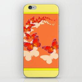 Monarch Butterflies Migration in Cumin Color & Yellow Art iPhone Skin