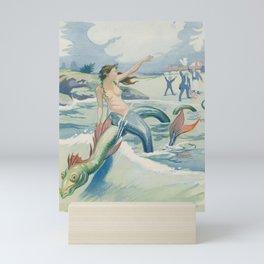 Mermaid on Sea Serpent Vintage Offset Printing Illustration Mini Art Print