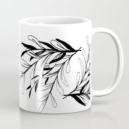 Entwined Sketched Branches in Black and White Coffee Mug