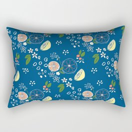 Summer Print Royal Blue Rectangular Pillow