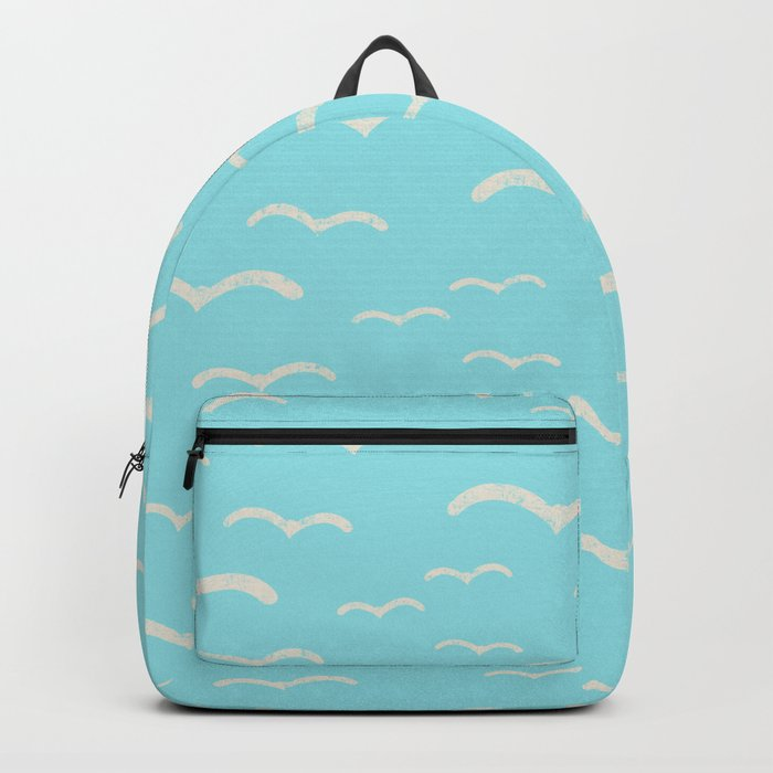 Beach Series Aqua- Sea Gulls Birds in the blue Sky Backpack
