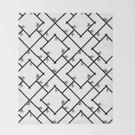 Bamboo Chinoiserie Lattice in White + Black Throw Blanket