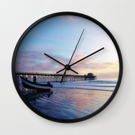 Dory Sunset Newport Beach Pier Wall Clock