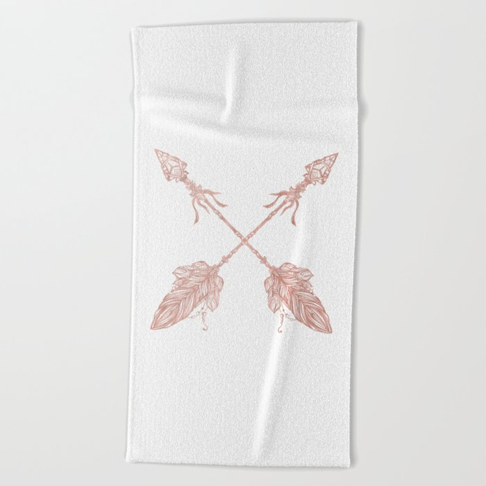 Tribal Arrows Rose Gold on White Beach Towel