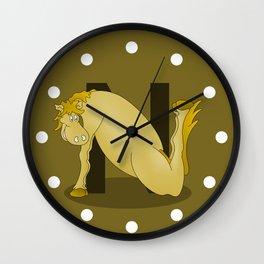 Pony Monogram Letter N Wall Clock