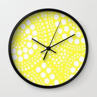 yellow pattern Wall Clocks featuring Pattern Yellow by Wildflowers and Grace