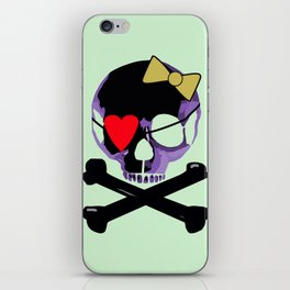 Purple skull heart with bow iPhone Skin