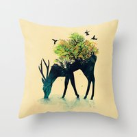 bianca green Throw Pillows featuring Watering (A Life Into Itself) by Picomodi