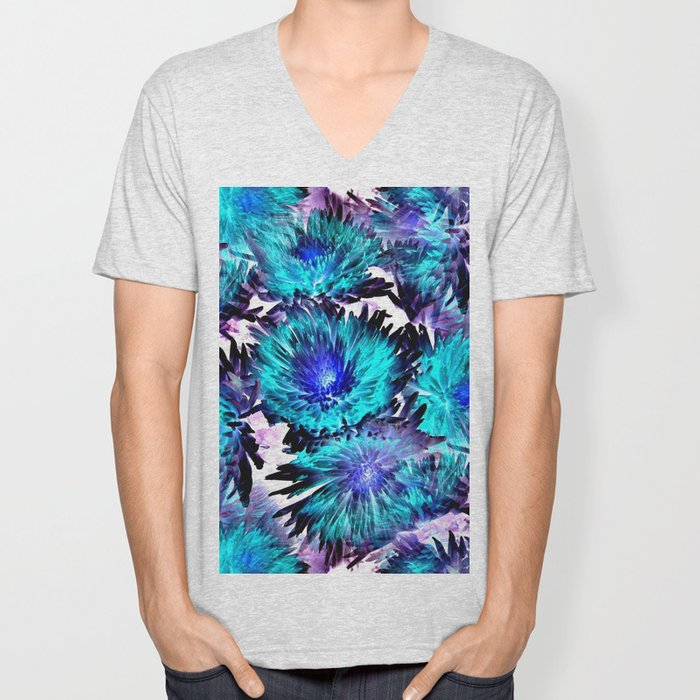 Turquoise Purple Abstract Flowers Unisex V-Neck