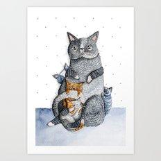 Cat family Art Print