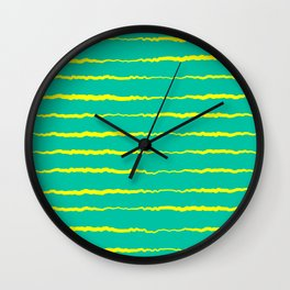 Yellow and Teal Waves Wall Clock