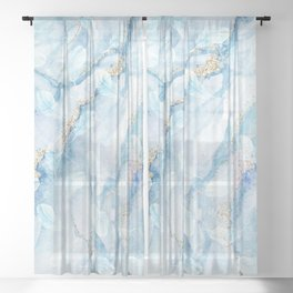 White marble with fluff feathers Sheer Curtain