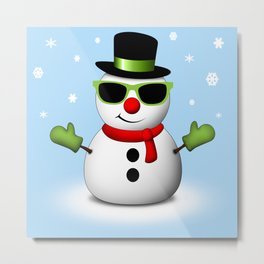 Cool Snowman with Shades and Adorable Smirk Metal Print