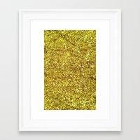 gold glitter Framed Art Prints featuring GOLD GLITTER by n a t