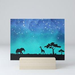 Elephant Giraffe Silhouette Mini Art Print