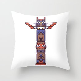 Colorful Totem Pole Throw Pillow