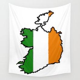 Ireland Map with Irish Flag Wall Tapestry