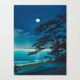 Vintage Japanese Woodblock Print Moonlight Over Ocean Japanese Landscape Tall Tree Silhouette Canvas Print