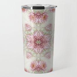 Pink Chrysanthemums Kaleidoscope Art 5 Travel Mug