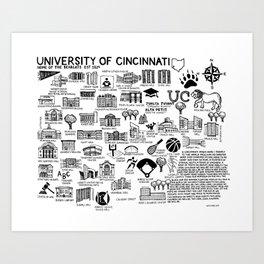 Cincinnati Map Black and White Art Print